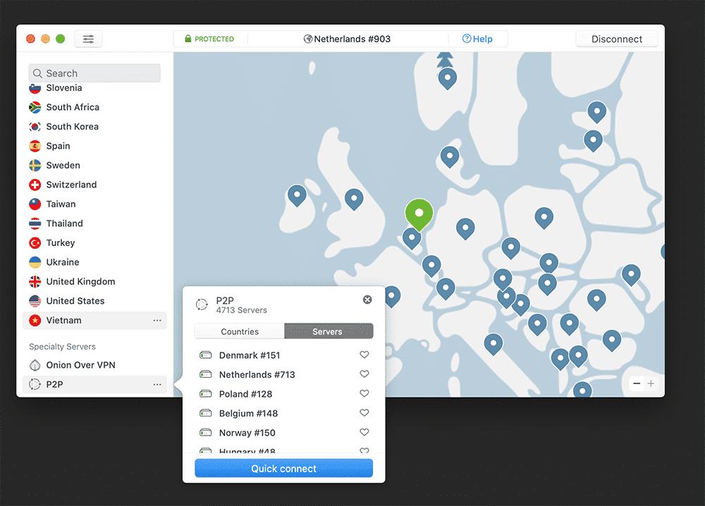 P2P server hos NordVPN