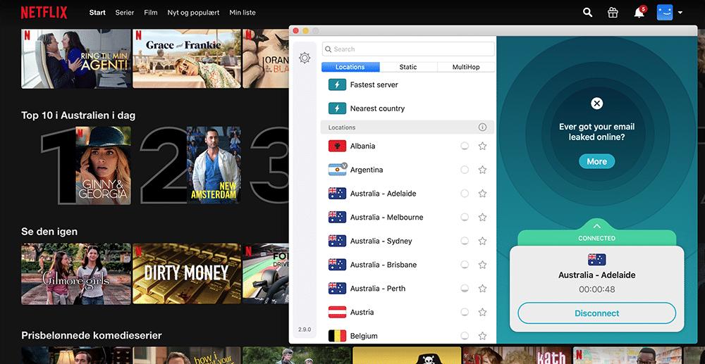 Netflix i Australien med Surfshark