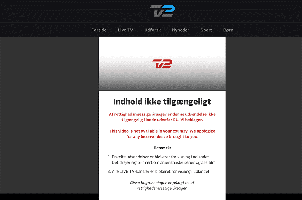 TV2 Play er ikke tilgængelig i udlandet